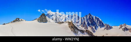 Panoramic view of the Mont Blanc massif as seen from Glacier du Geant - Stock Photo