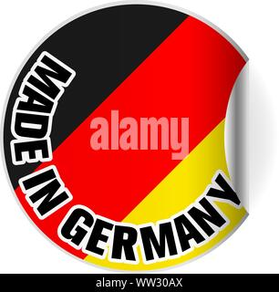 round Made in Germany sticker or badge with German flag, one side curled up vector illustration - Stock Photo