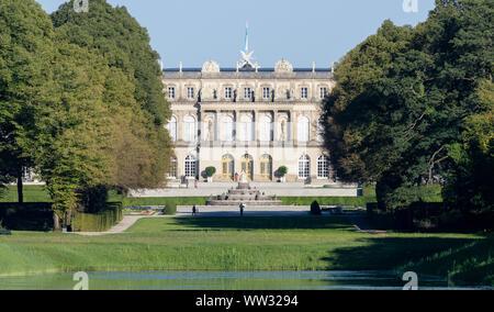 12 September 2019, Bavaria, Prien: Herrenchiemsee Castle on the Herreninsel island in Chiemsee. Photo: Matthias Balk/dpa - Stock Photo