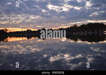 View of lake (Aasee) in Muenster, Germany - Stock Photo