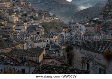 Foggy morning at Sassi di Matera the European capital of culture 2019 , Italy - Stock Photo