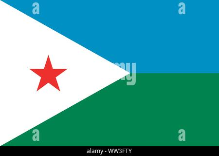The national flag of Djibouti. Drapeau de Djibouti. Djiboutian natinal symbol. Vector illustration - Stock Photo