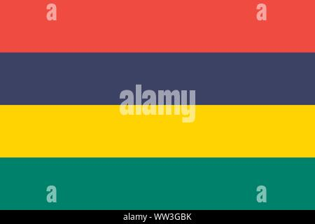The national flag of Mauritius. Vector illustration. Port Louis - Stock Photo