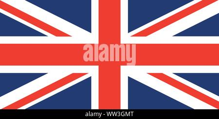 Union Jack. United Kingdom flag. Red cross on combined red and white saltires with white borders, over dark blue background. Flag of Great Britain. Fl - Stock Photo