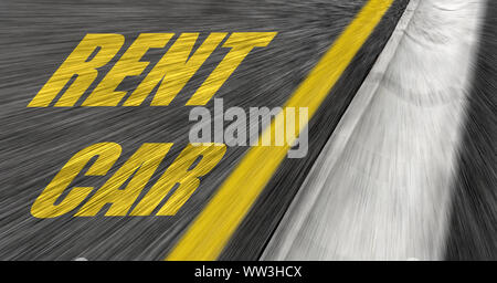 Car rental inscription on the road. - Stock Photo