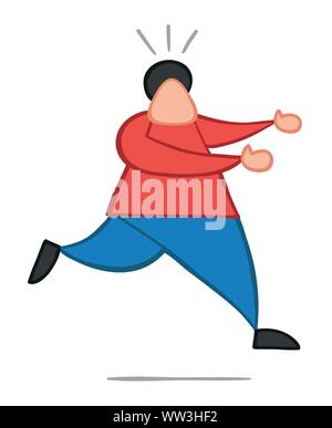Vector illustration man running away. Hand drawn. Colored outlines. - Stock Photo