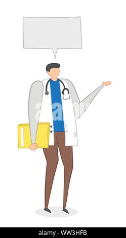 Vector illustration doctor holding folder and talking. Hand drawn. Colored outlines.
