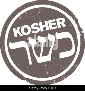 scratched grungy KOSHER rubber stamp print with hebrew script vector illustration - Stock Photo
