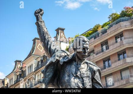 Montreux, Switzerland - July 26, 2019: Famous sculpture of Freddie Mercury, singer of the famous band Queen. Farrokh Bulsara, born in Zanzibar, Tanzania. The statue is a popular tourist landmark. - Stock Photo