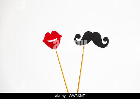Photo booth props lips and Black Mustache isolated on white background - Stock Photo