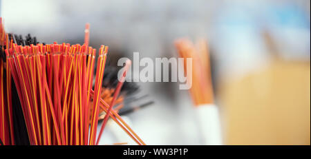 Bundle of copper cables with protect layer. Cables cut to established length and removed insulation. Ready to making electrical contacts - Stock Photo