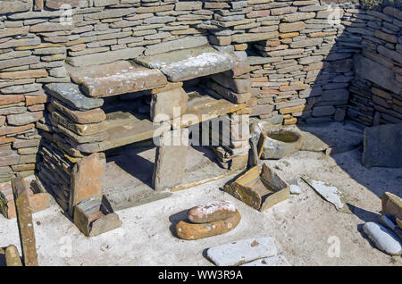 Skara Brae Neolitchic settlement  more than 5,000  years old is the best preserved Stone Age Neolithic village in northern Europe, Mainland Orkney, Sc - Stock Photo