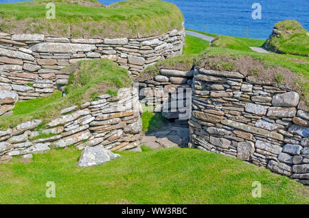 Skara Brae Neolitchic settlement  more than 5,000  years old is the best preserved Stone Age Neolithic settlement in northern Europe, Orkney, Scotland - Stock Photo