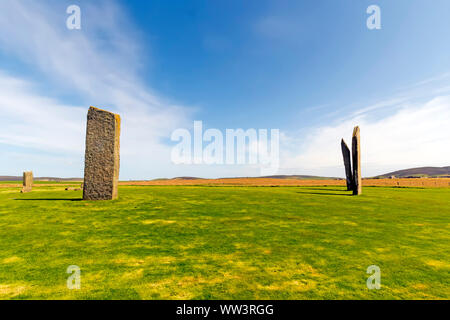 Standing Stones of Stenness dates from at least 3100BC and are part of the Heart of Neolithic Orkney UNESCO World Heritage Site, Scotland - Stock Photo