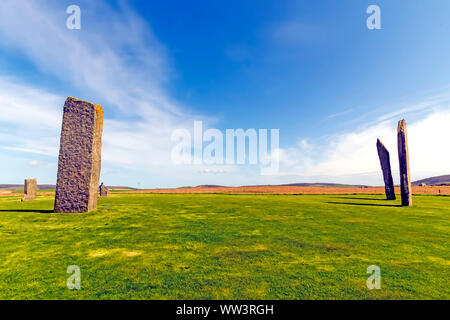 Standing Stones of Stenness dates from at least 3100BC and is part of the Heart of Neolithic Orkney UNESCO World Heritage Site, Scotland - Stock Photo