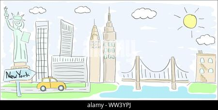 Child style colored sketch drawing of New York city in America with Statue of Liberty - Stock Photo