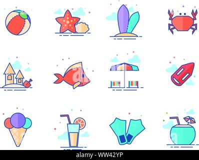 Beach icons in flat color style. Vector illustration. - Stock Photo