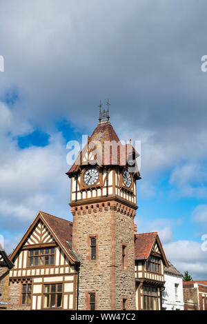 The Barrett Browning Memorial Institute clock tower and library building.Timber framed and stone period building. Ledbury, Herefordshire, England - Stock Photo