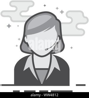 Female receptionist icon in flat outlined grayscale style. Vector illustration. - Stock Photo