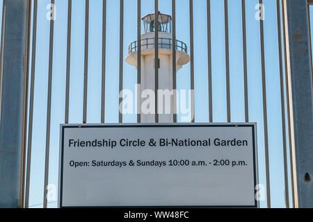 Entrance to Friendship Park in San Diego, California, the southernmost park in the U.S, along the San Diego-Tijuana border, with El Faro de Tijuana. - Stock Photo