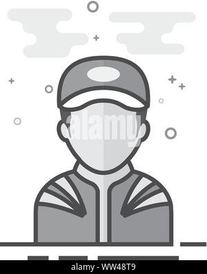 Racer avatar icon in flat outlined grayscale style. Vector illustration. - Stock Photo