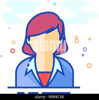 Female receptionist icon in outlined flat color style. Vector illustration. - Stock Photo