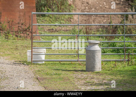 Metal farmyard gate and old fashioned metal milk churn in morning sunlight. - Stock Photo