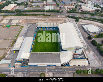 Leeds UK 11th July 2019: Aerial photo of Elland Road Football Club, taken in Leeds West Yorkshire, Leeds United Football Club - Stock Photo