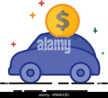 Car piggy bank icon in outlined flat color style. Vector illustration. - Stock Photo