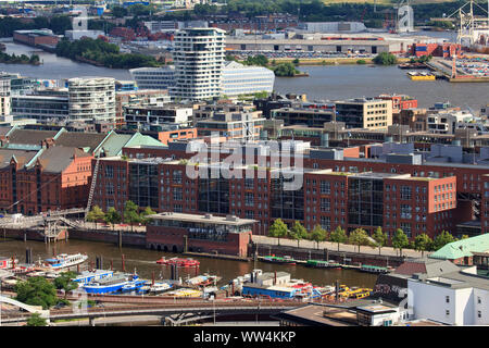 View from Michel on HafenCity in Hamburg. - Stock Photo