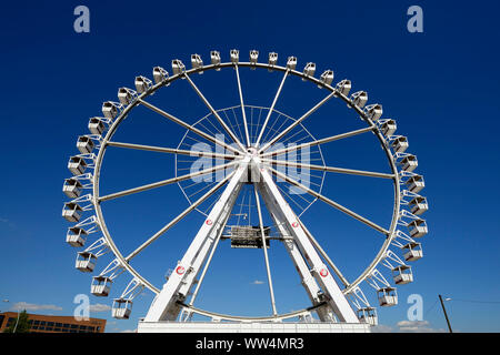Ferris wheel at the beach quay in the HafenCity of Hamburg, Germany, Europe - Stock Photo