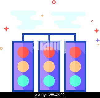 Red light sign icon in outlined flat color style. Vector illustration. - Stock Photo