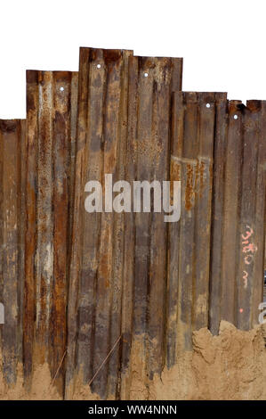Photography of a rusty steel partition on a construction site, - Stock Photo