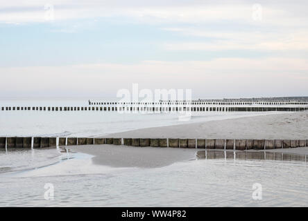 Baltic Sea beach with groynes in Prerow, Darß, Fischland-Darß-Zingst, Mecklenburg-West Pomerania, Germany - Stock Photo