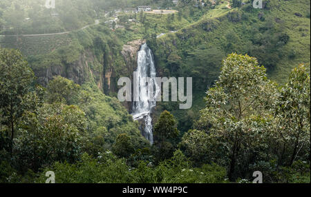 Beautiful waterfall landscape in Sri Lanka - Stock Photo