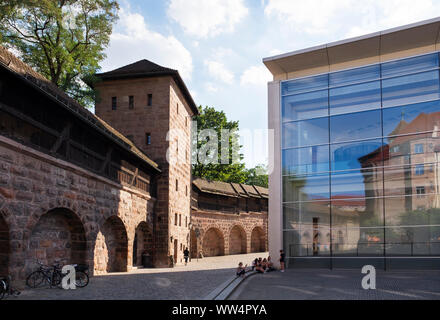 Frauentormauer with falcon tower and new museum, Lorenz old town, Nuremberg, Central Franconia, Franconia, Bavaria, Germany - Stock Photo