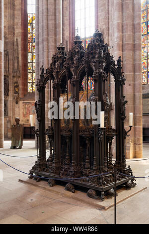 Sebaldus tomb, church St. Sebald or Sebaldus church, Nuremberg, Central Franconia, Franconia, Bavaria, Germany - Stock Photo