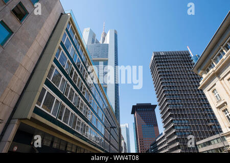 Große Gallusstrasse with Commerzbank Tower, Frankfurt on the Main, Hesse, Germany - Stock Photo