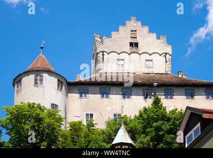Castle or old castle, Meersburg at Lake Constance, Lake Constance district, Upper Swabia, Baden-Wuerttemberg, Germany - Stock Photo
