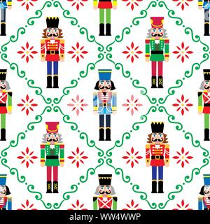 Christmas nutcrackers vector seamless pattern - Xmas soldier figurine repetitive ornament, textile design - Stock Photo