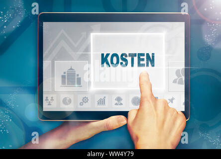 A hand holiding a computer tablet and pressing a Costs 'Kosten' business concept.