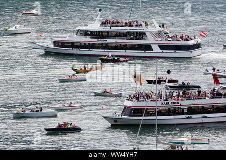 Lake procession at Corpus Christi, Corpus Christi procession, Traunkirchen, Salzkammergut, Upper Austria, Austria - Stock Photo