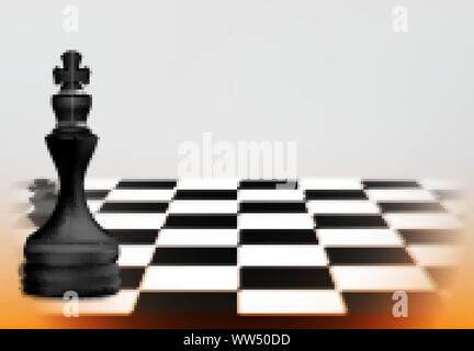 Chess game concept with realistic board and black king pieces of chess. Business Leadership Concept. vector illustration - Stock Photo