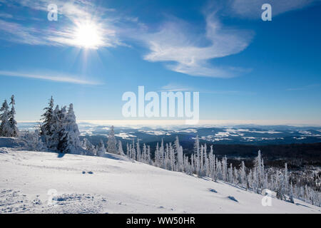 View from the Lusen in winter, Bavarian Forest National Park, Lower Bavaria, Bavaria, Germany - Stock Photo