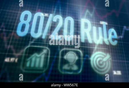 80 / 20 Rule concept on a blue dot matrix computer display. - Stock Photo