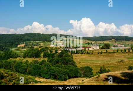 View on Gevaudan region, Margeride, Haute-Loire department, Auvergne-Rhone-Alpes, France, Europe - Stock Photo