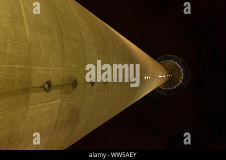 Germany, North Rhine-Westphalia, Dusseldorf, Rhine tower, from below, lights, at night - Stock Photo