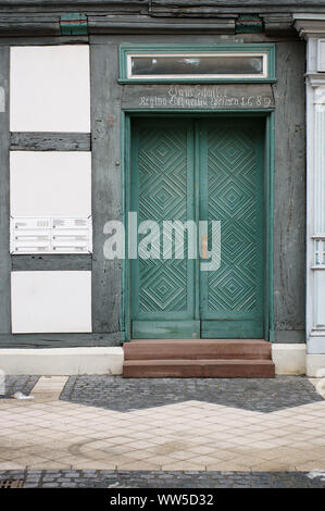 Photography of the facade of a church in half-timbered style, - Stock Photo