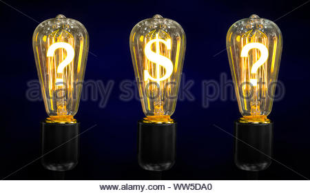 Lamps that glow symbols of world currencies - Stock Photo