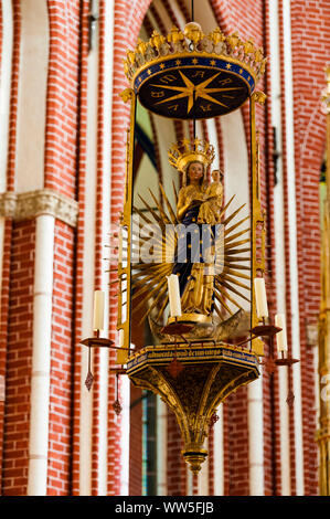 Marian statue in the minster of Bad Doberan - Stock Photo